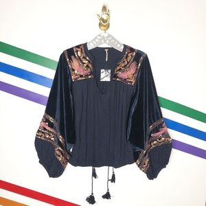 NEW Free People hearts aflame puff sleeve top
